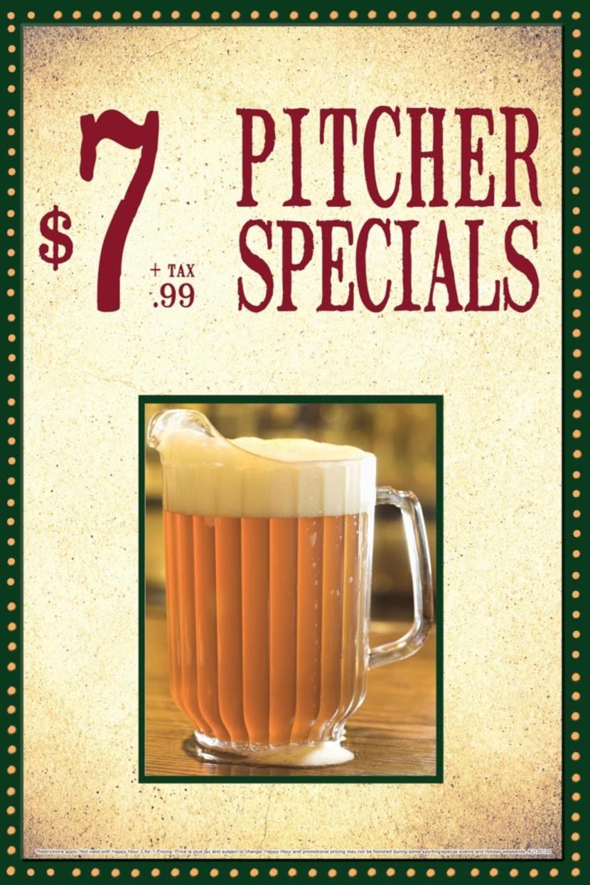 Pitcher Specials flyer, $7.99 plus tax