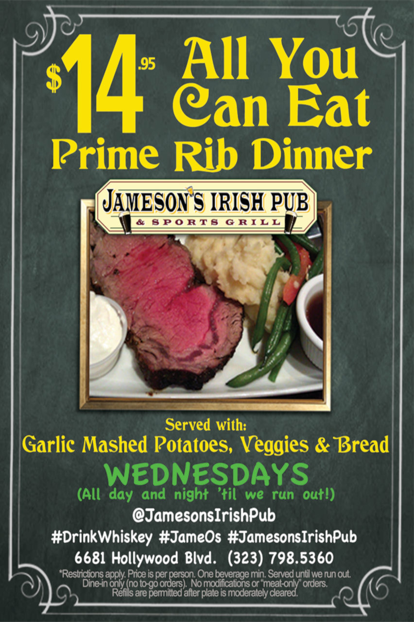 All you can eat prime rib dinner flyer, $14.95, Wednesdays all day and night