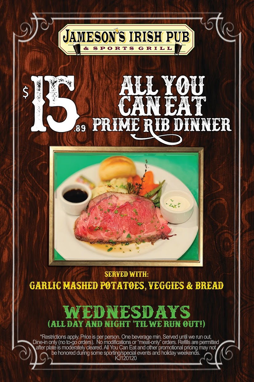 All you can eat prime rib dinner flyer, $15.89, Wednesdays all day and night