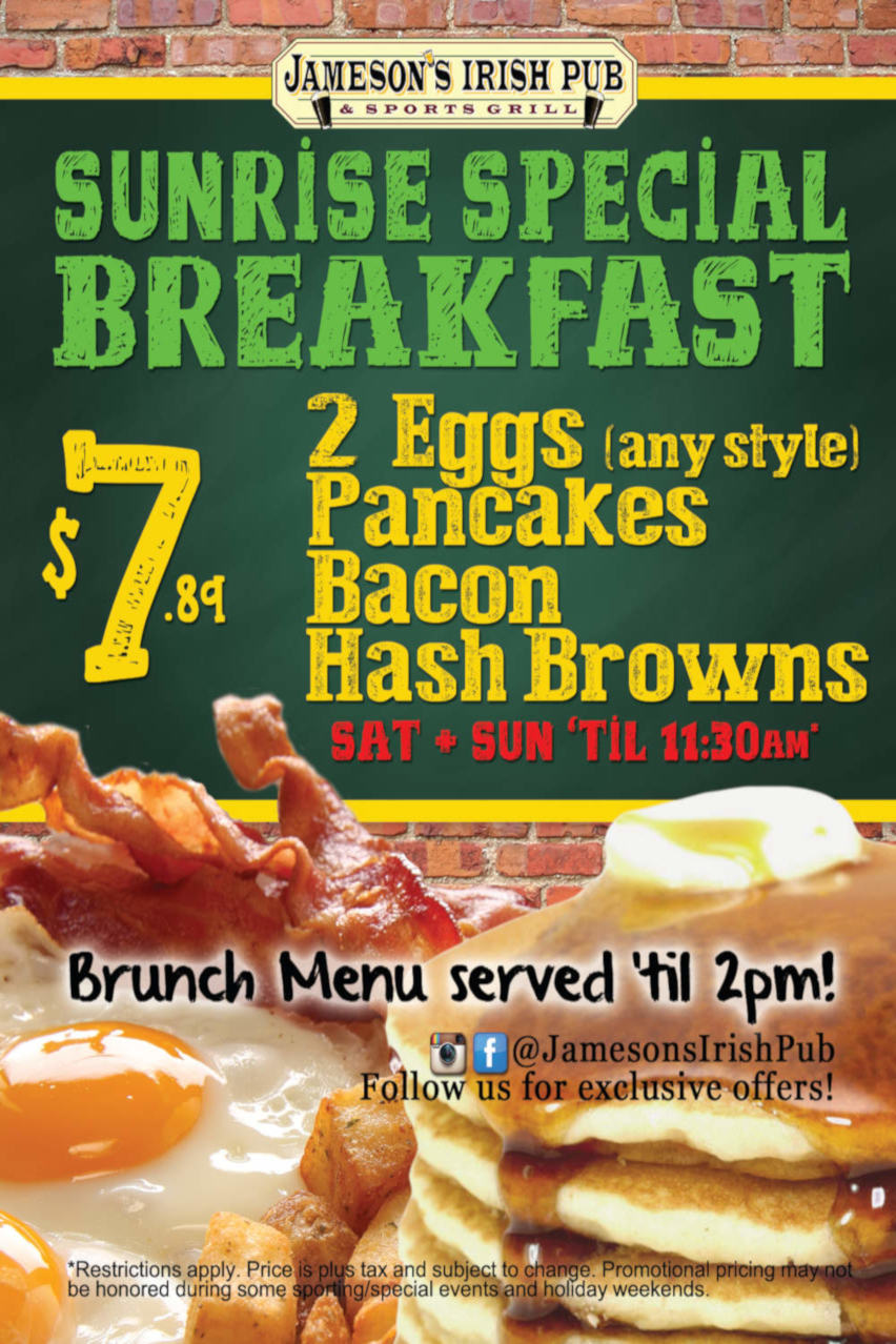 Sunrise Special Breakfast flyer, $7.89, eggs, pancakes, bacon, brownies, Sat, Sun till 11:30am