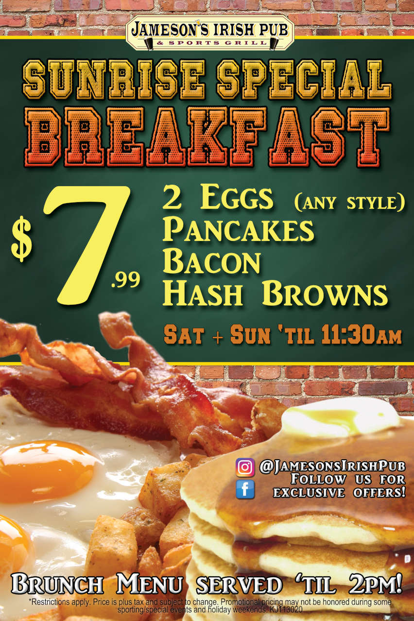 Sunrise Special Breakfast flyer, $7.99, eggs, pancakes, bacon, brownies, Sat, Sun till 11:30am