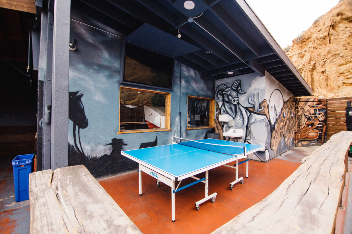 Restaurant exterior, ping pong table
