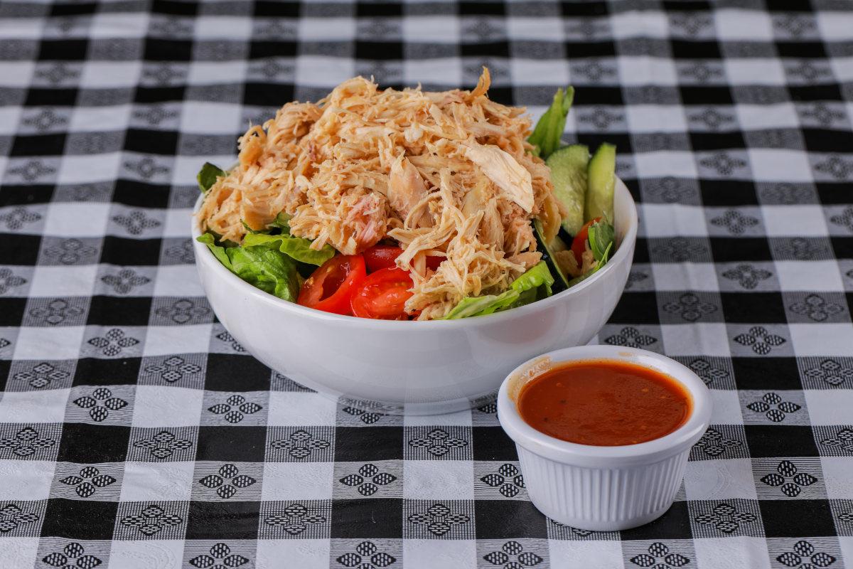garden salad with shredded chicken