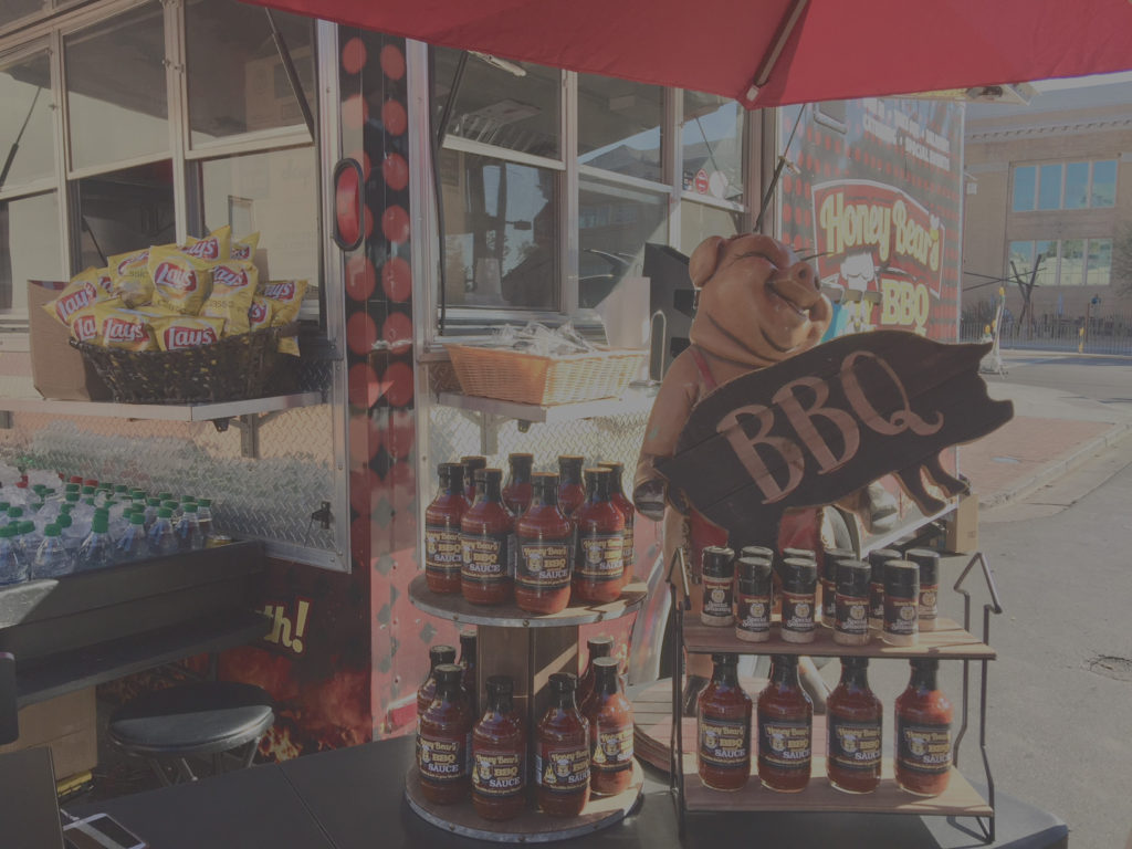 Kitchen truck BBQ sauces stand