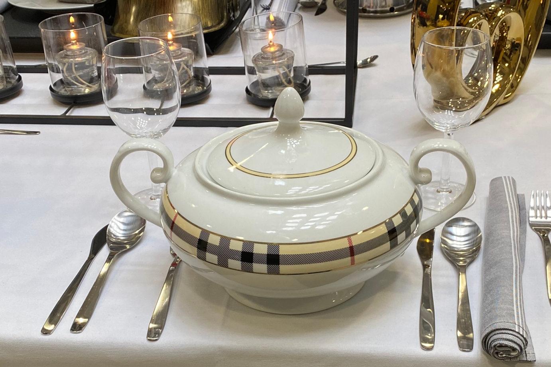 Elegantly set table