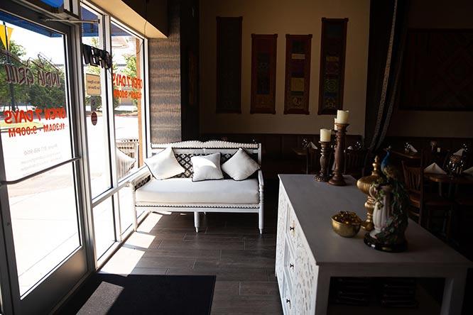 Sofa at the restaurant entrance