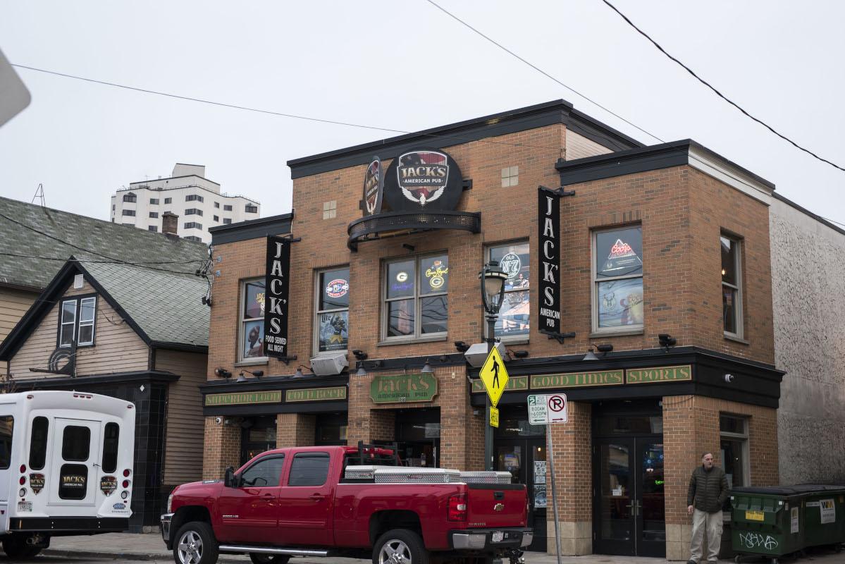 Jack's american pub , two story building, brick facade