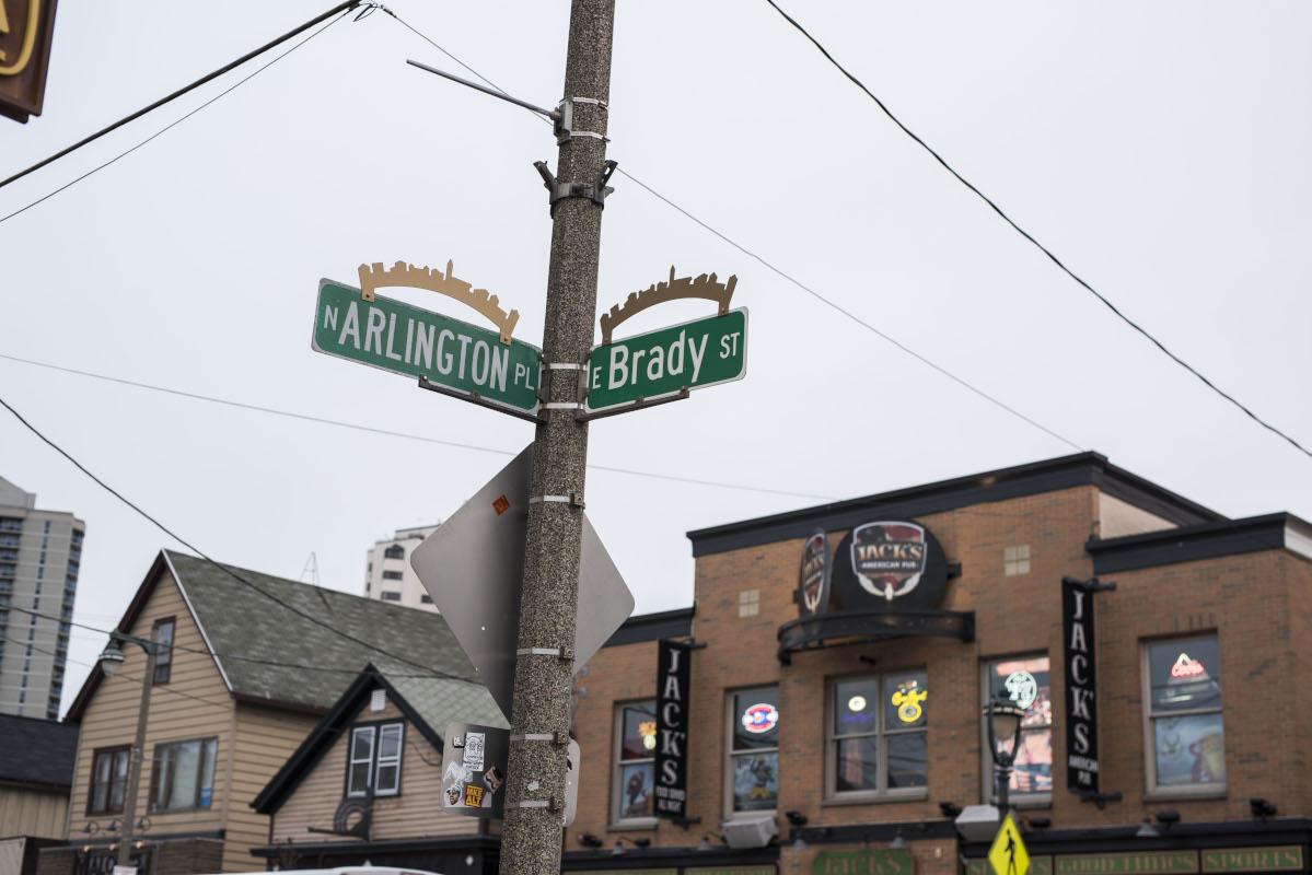 Arlington and Brady street crossroads sign