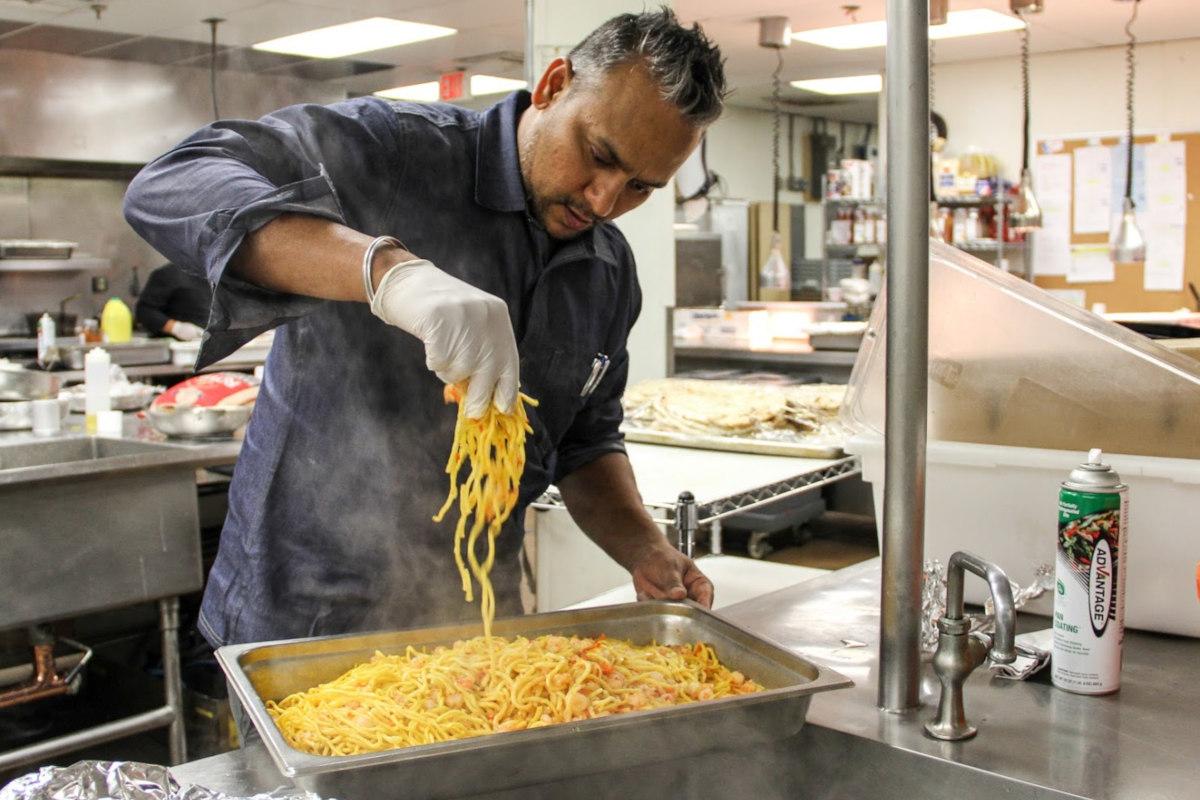 Chef making a pasta dish