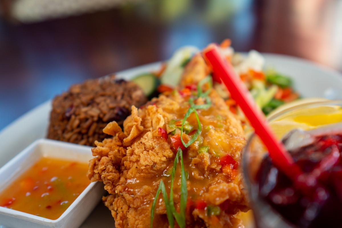 fried lobster, mixed veggies, ibscuss rum
