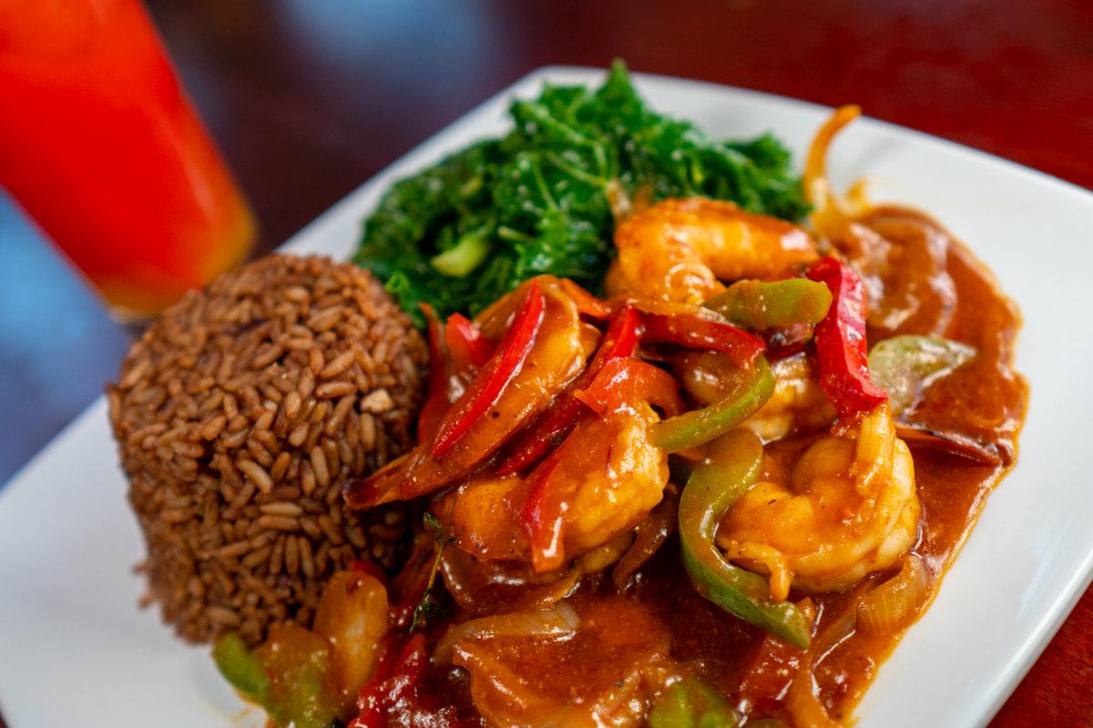 spicy shrimp rice, beans, kale, happy punch