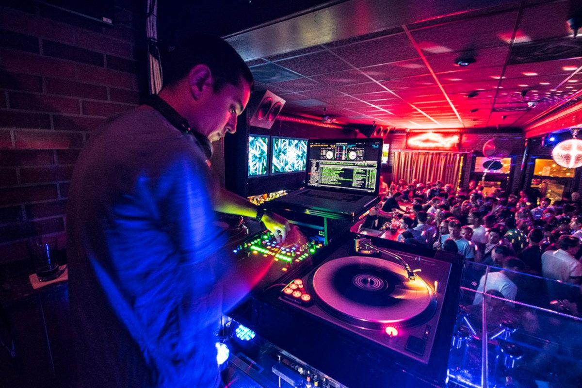 The DJ plays music