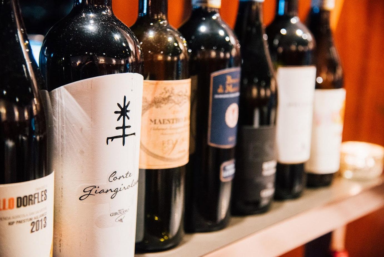 Bottles of wine on the shelf