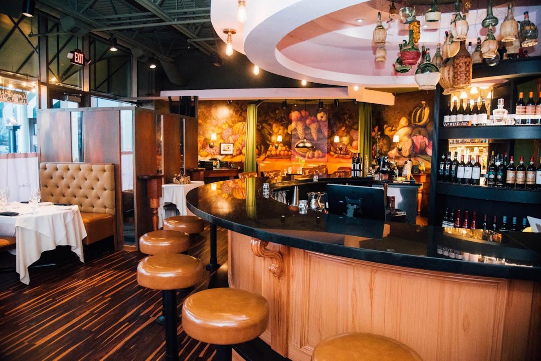 Restaurant interior, bar area