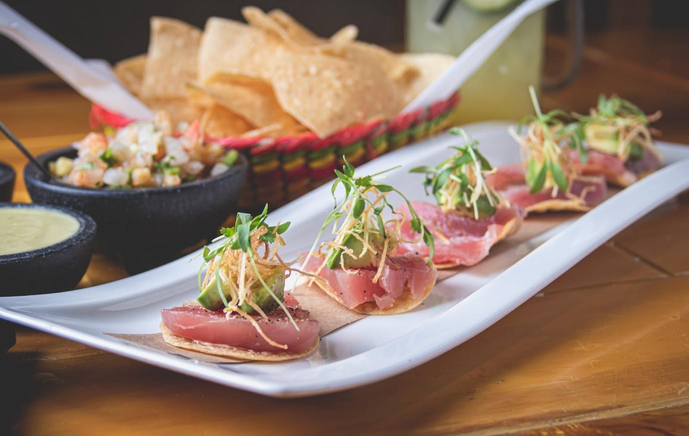 Tuna Tostado on the white plate