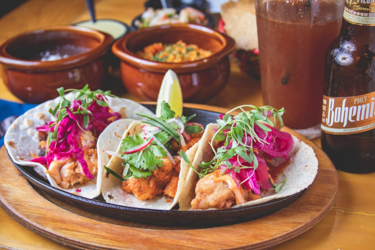 tacos with red cabbage slaw