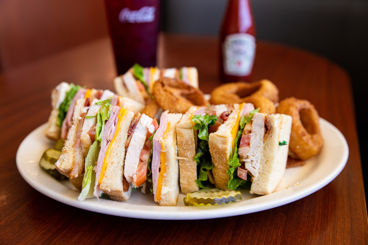 Four sandwiches on the plate