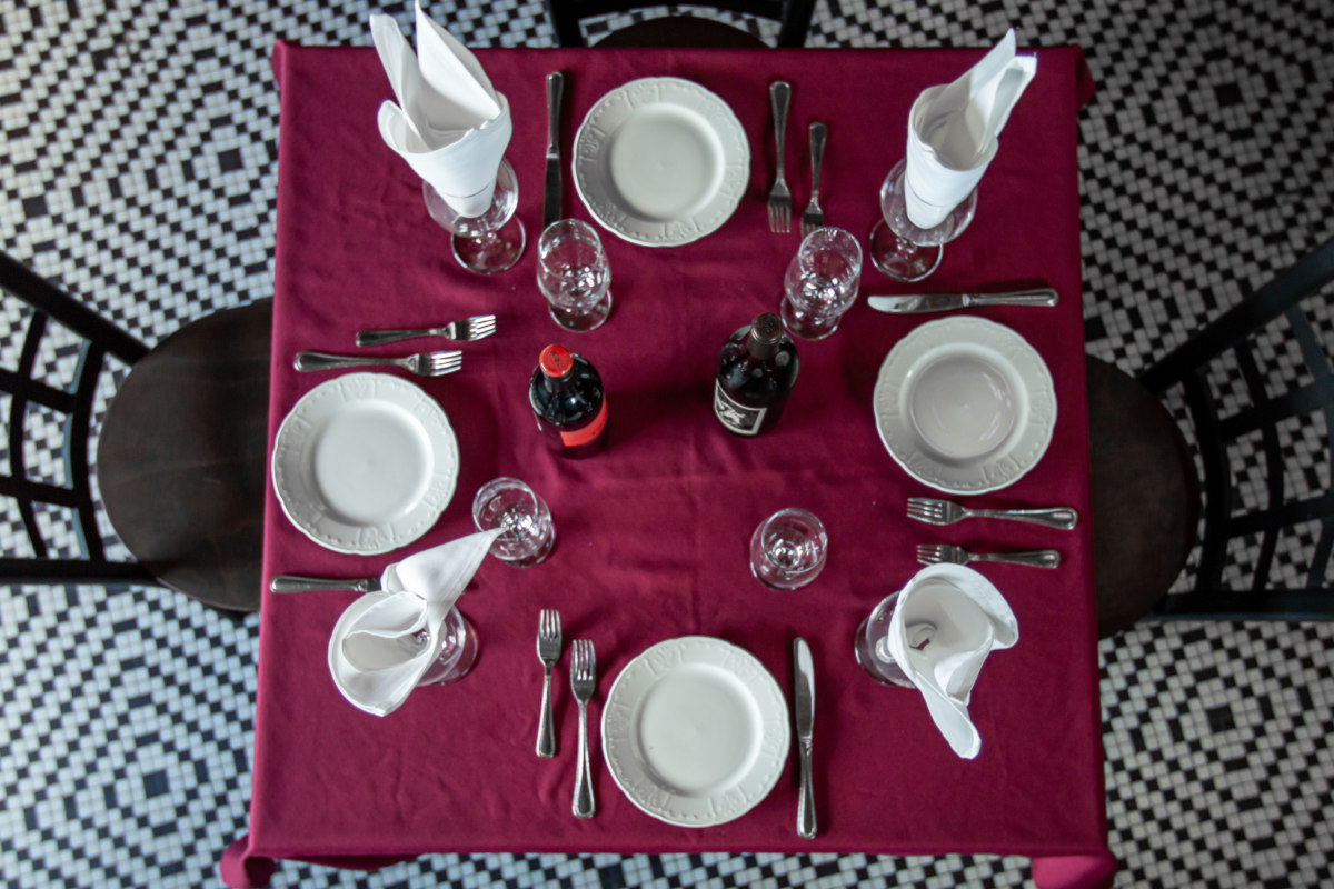 Set table for four, top view