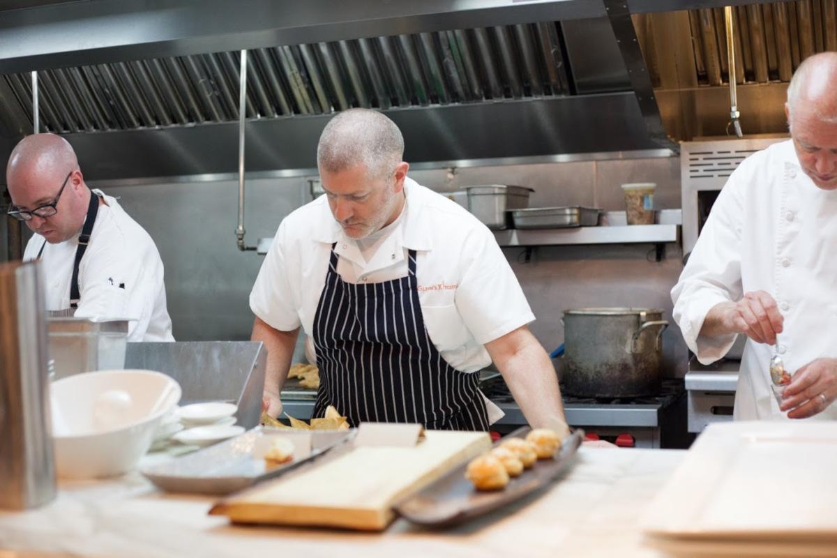 kitchen staff hard at work