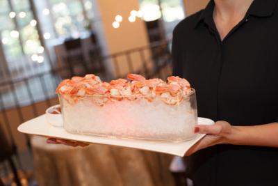 Seafood on ice platter