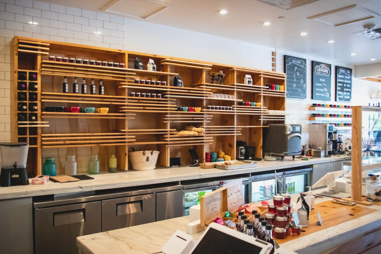 Restaurant interior, kitchen area