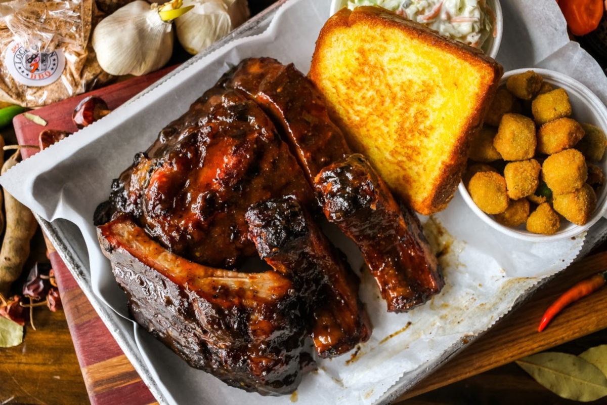 rack of ribs, top view
