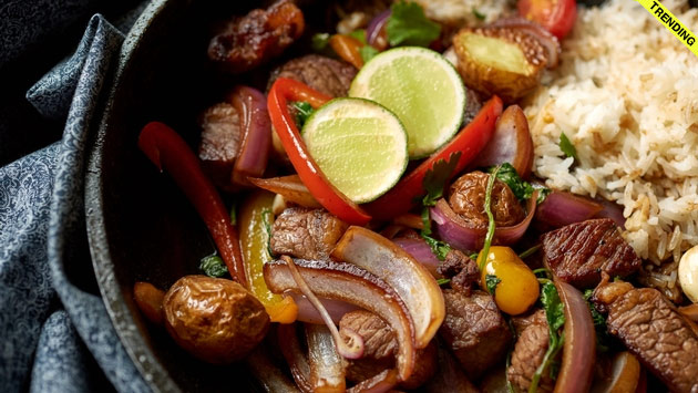 roasted meat with rice and vegetables photo