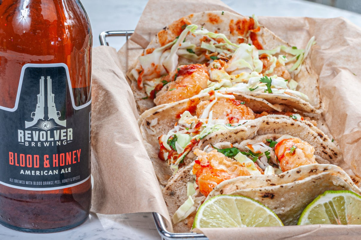 Tacos and beer bottle