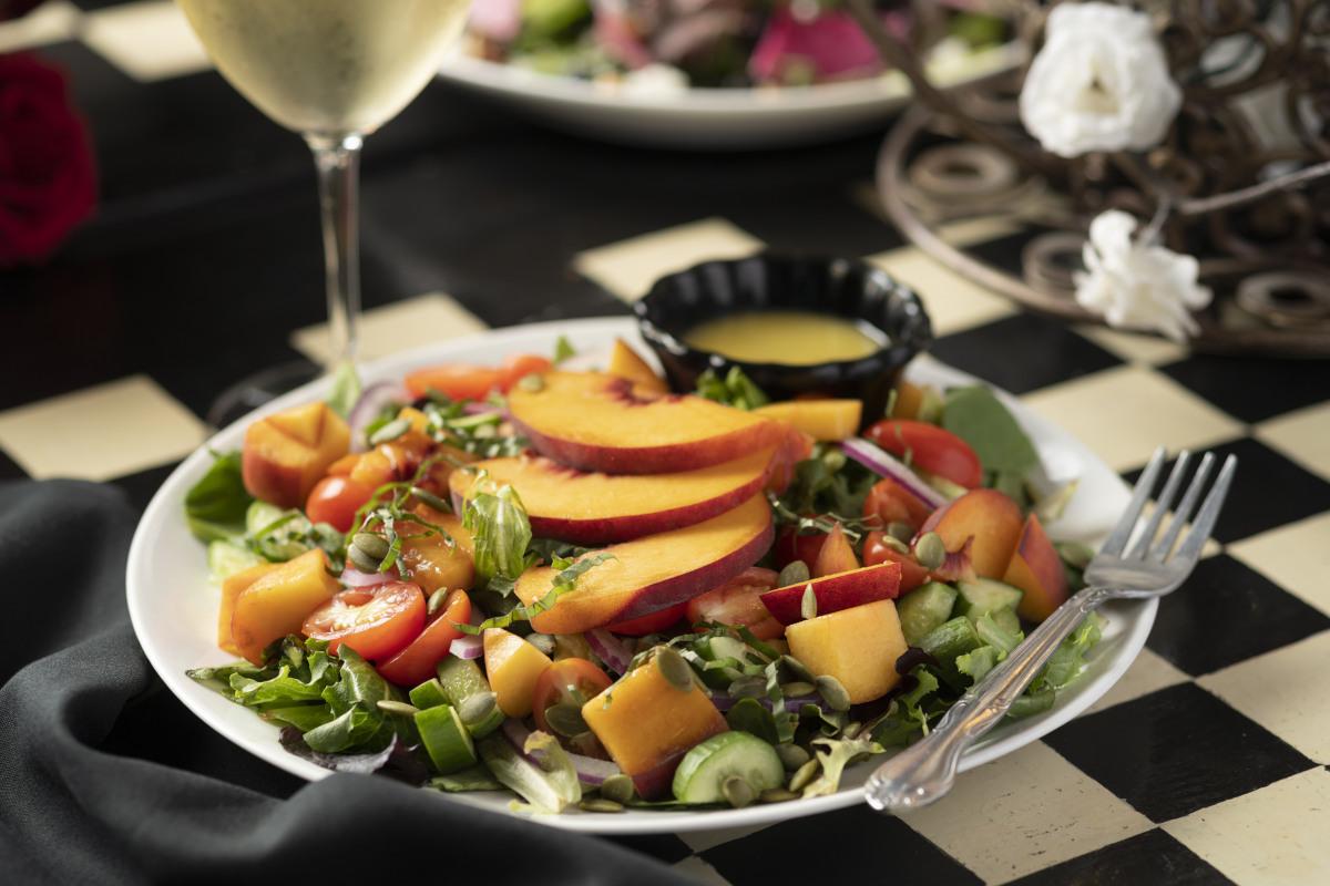 summer peach basil salad