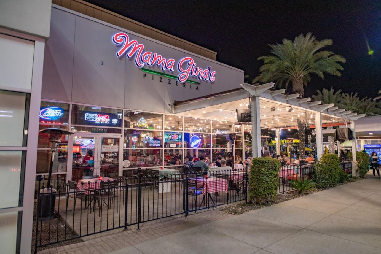 Exterior, night, restaurant patio.