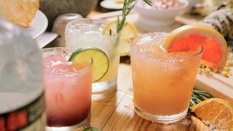 Three cocktails closeup