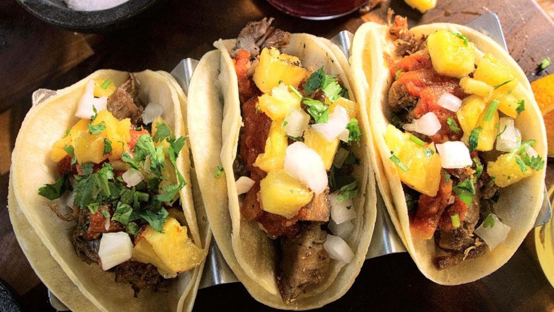 Three burritos closeup