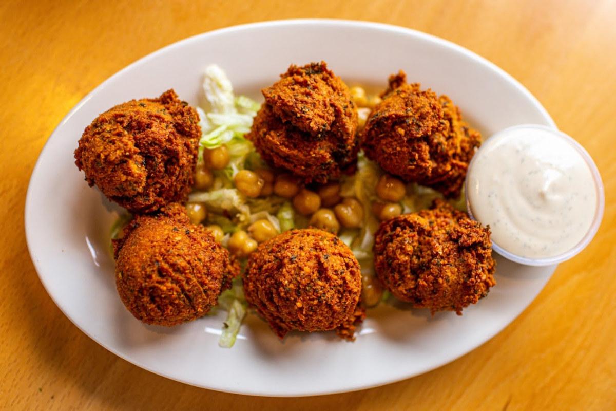 Falafel balls served with tahini sauce