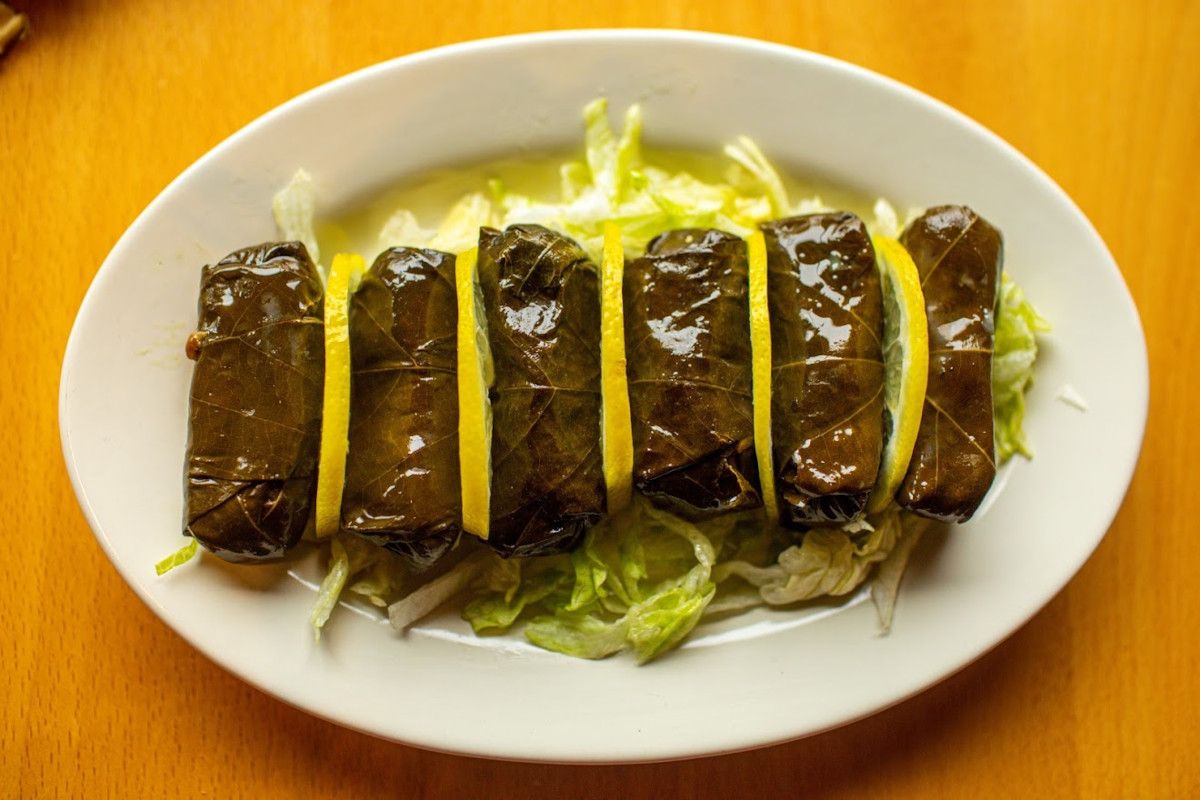 Grape leaves, stuffed with onions and herbs