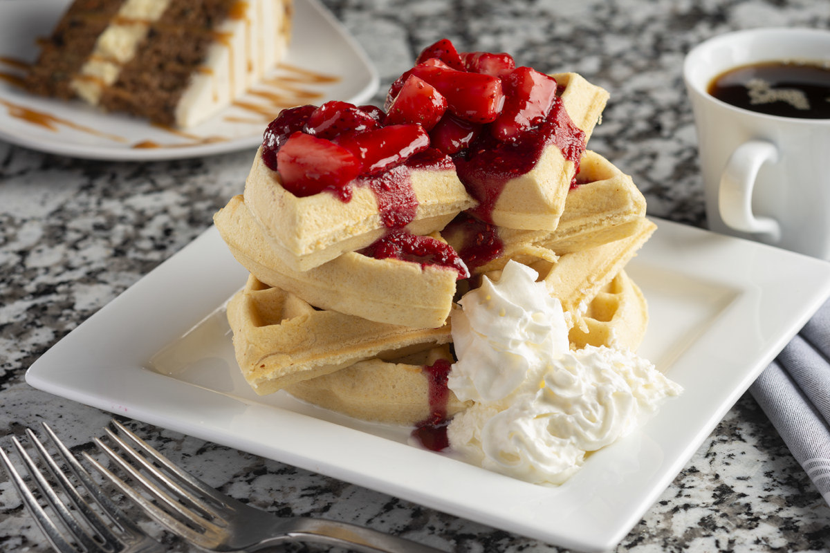 belgina waffle balsamic strawberries