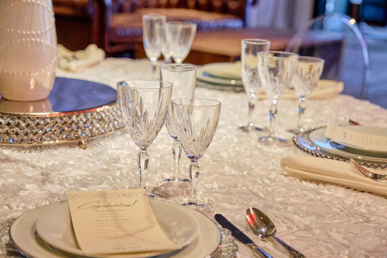 Elegant table decoration, crystal glasses