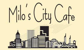Milo's City Cafe logo scroll
