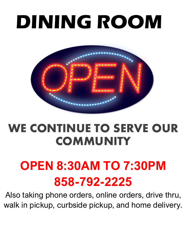 Dining room open flyer