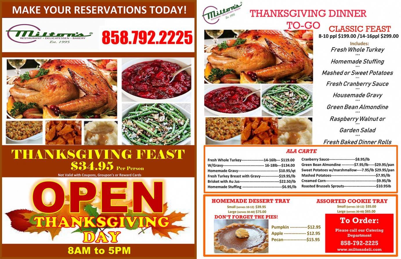 Reservations and Thanksgiving Holiday Flyers