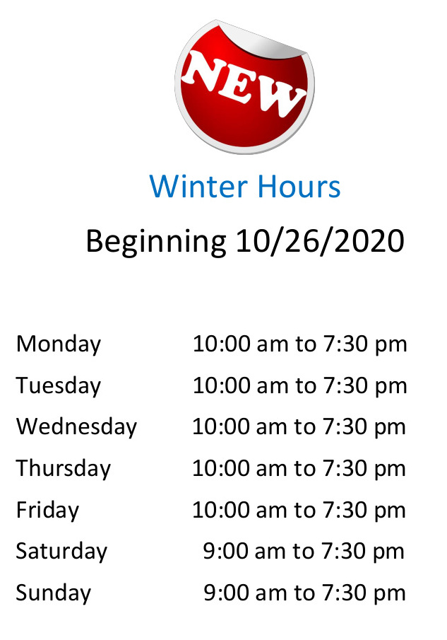 Winter hours special flyer