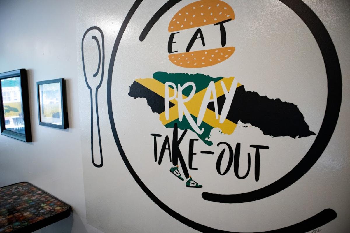 Eat, pray, take-out wall logo