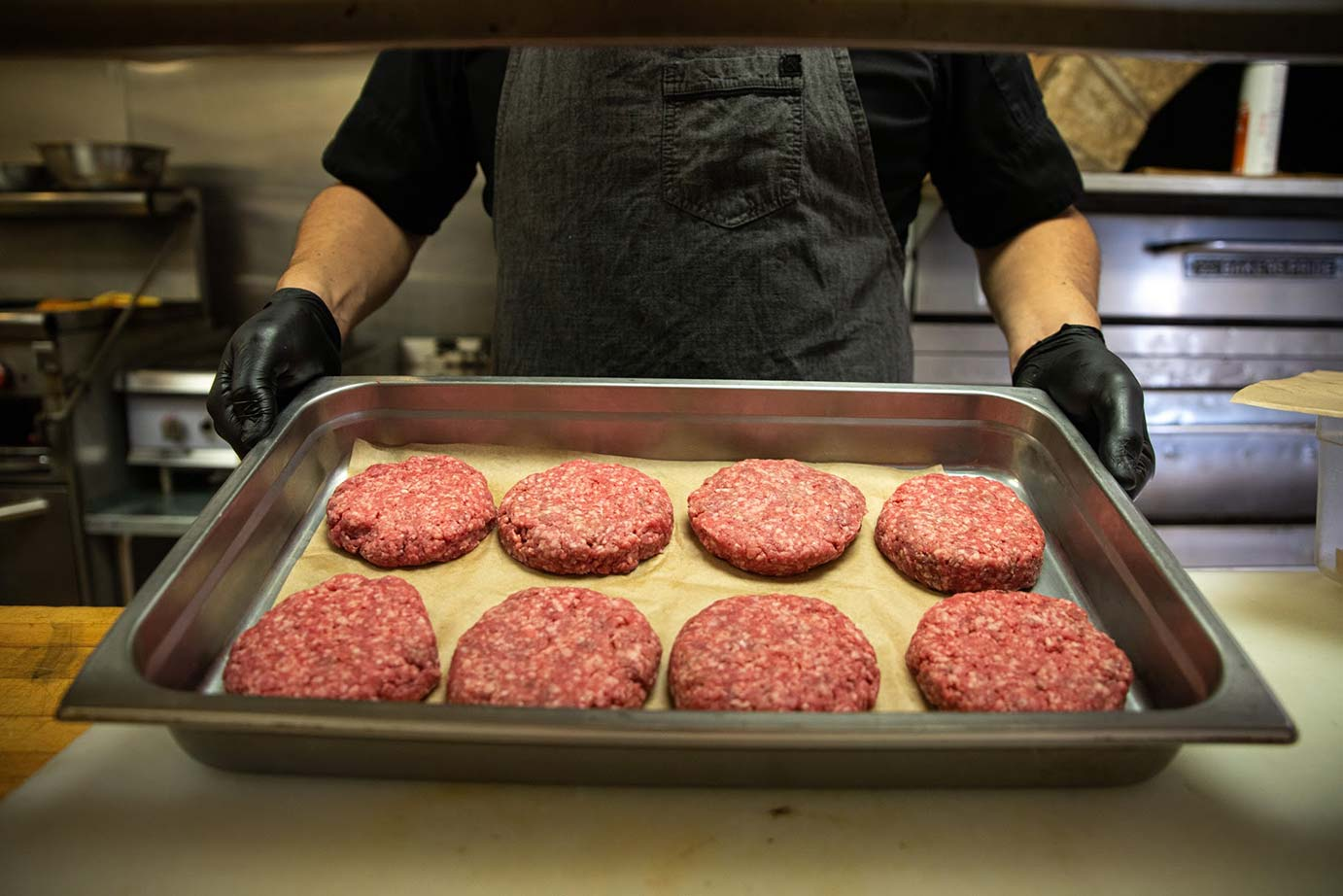 Raw burger meat