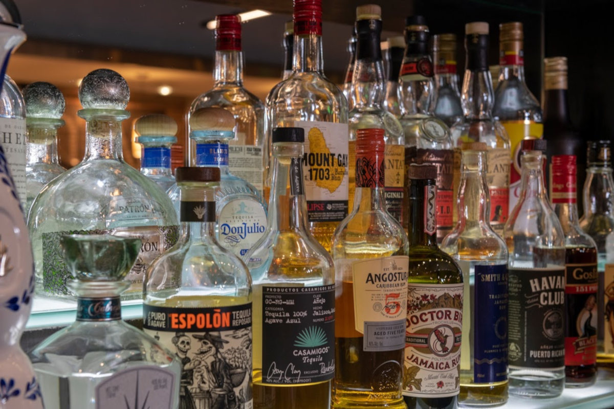 Different types of alcohol in bottles