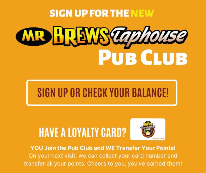 Pub Club Sign up flyer