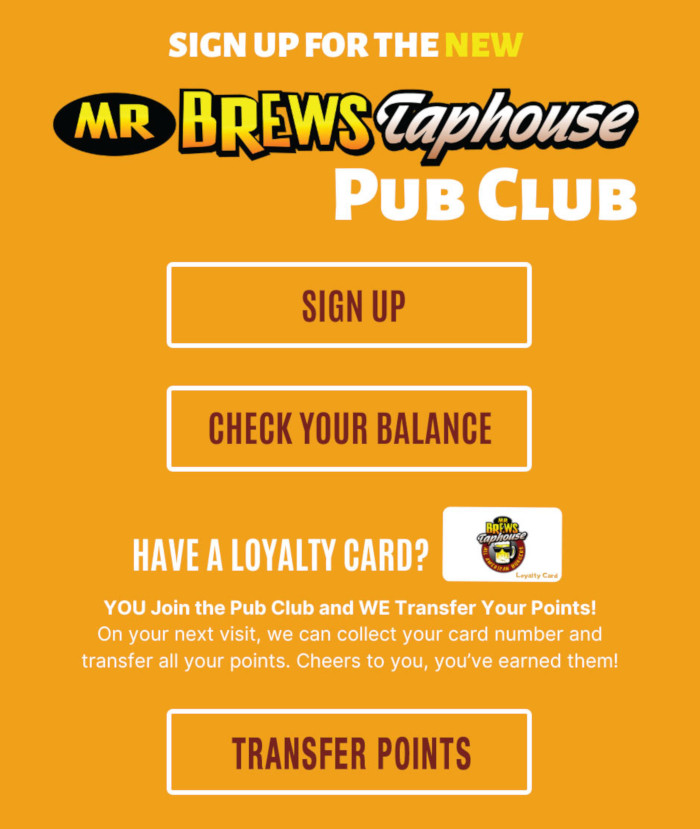 Pub Club Sign up flyer