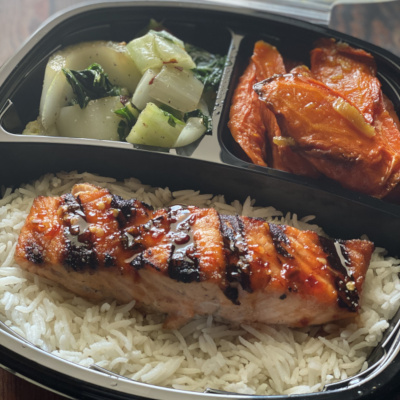 Grilled fish with veggies takeout