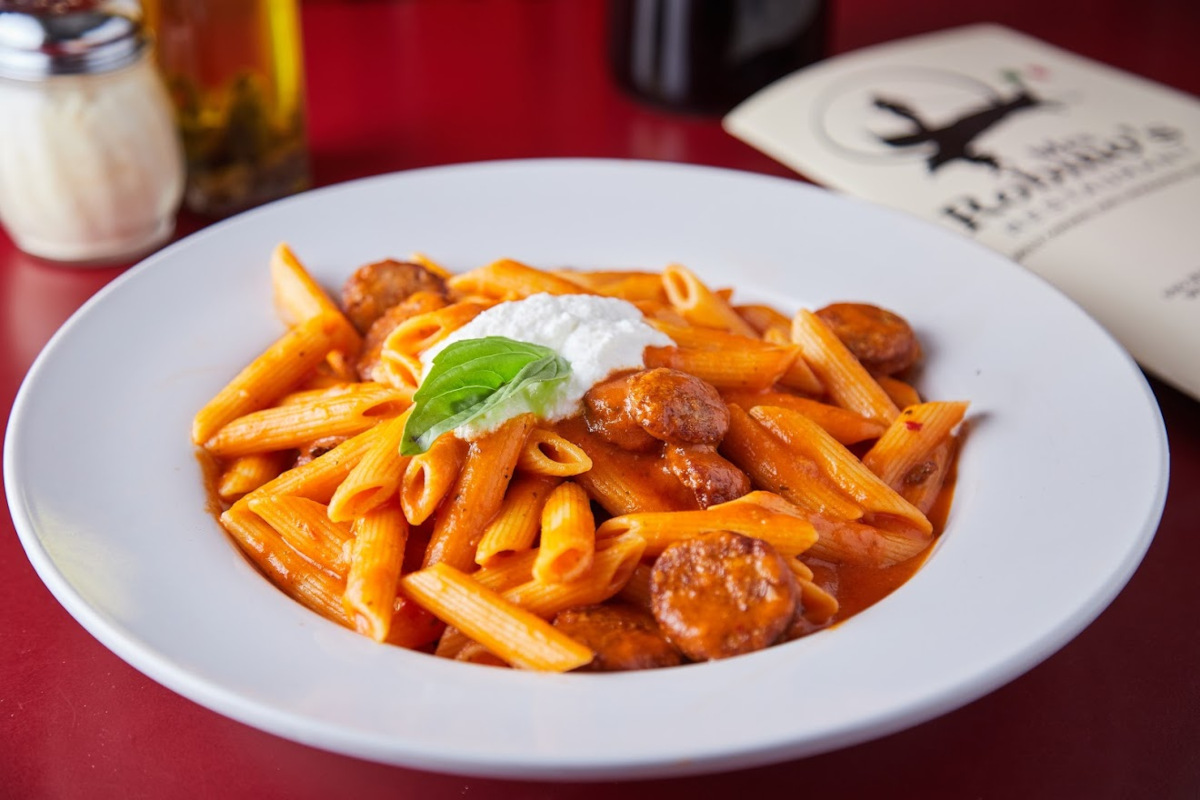 Pasta with sliced meat and sauce: