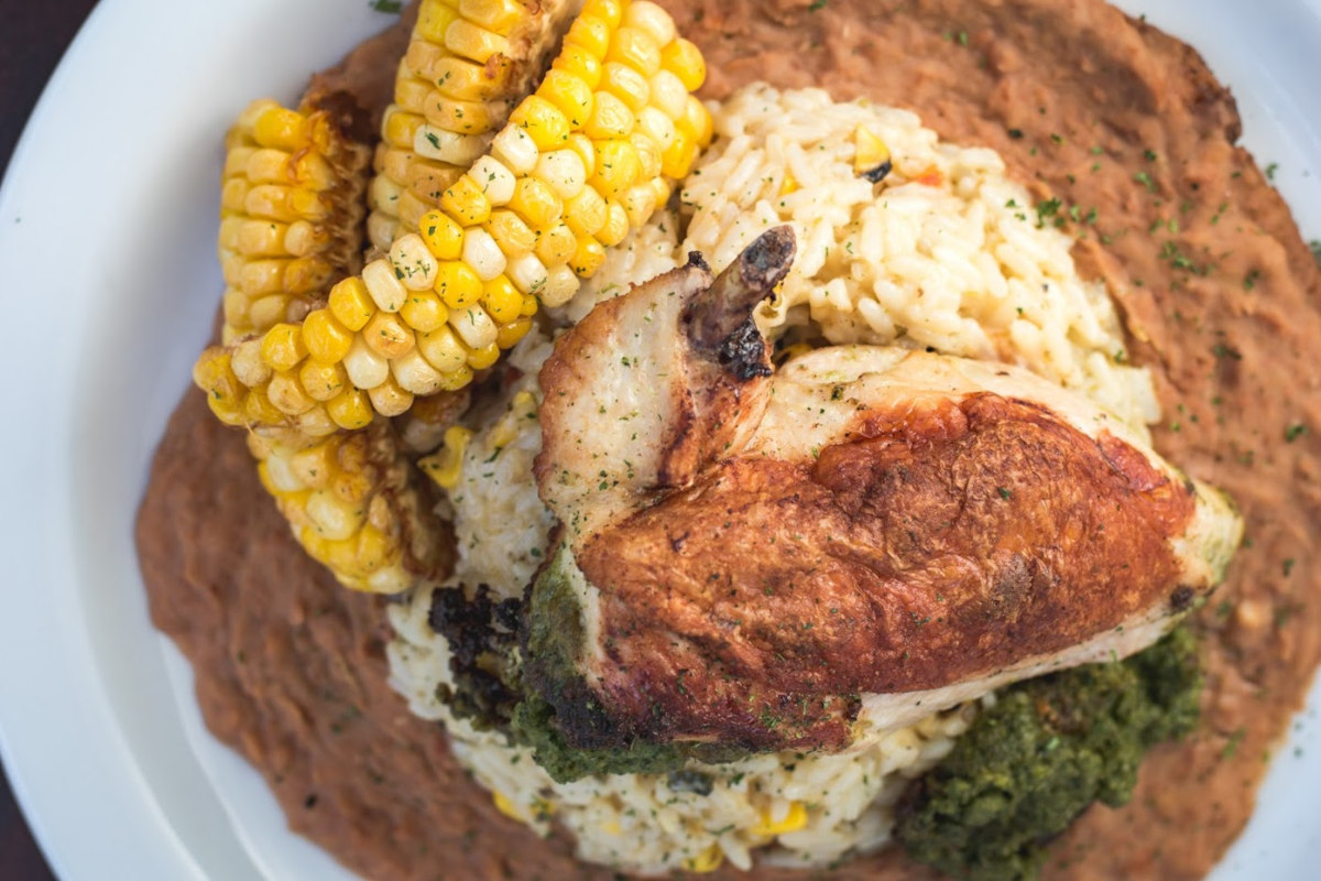 Chicken Breast stuffed with a Smoked Poblano Pepita Pesto and Served With Corn Riblets