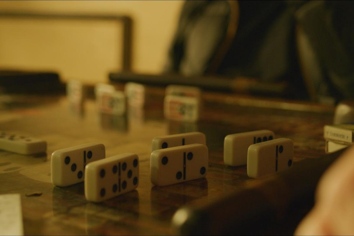 Domino game table, closeup