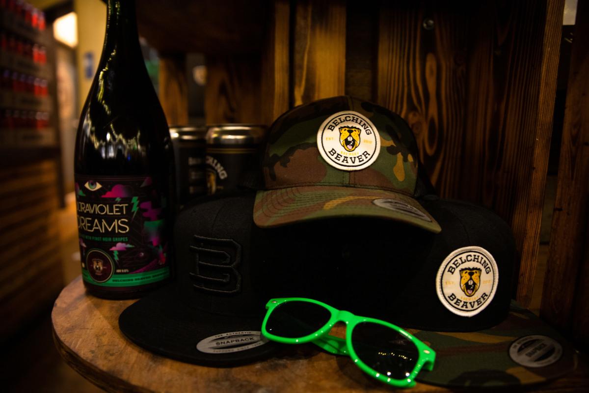 hat, sunglasses, wine bottle